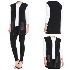 LAFAYETTE 148 Black Faux Leather Trim Vest Worn 1X